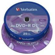 1x25 verbatim dvd+r double layer 8x 8,5gb mat argent 43757