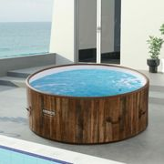 AREBOS Piscine Spa Pool | Gonflable | Chauffage | Exterieur | Ronde Drop-Stitch - Aspecto madera