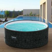 AREBOS Piscine Spa Pool | Gonflable | Chauffage | Exterieur | Ronde Drop-Stitch - Anthracite