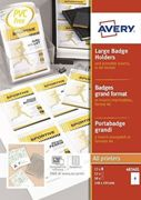 Avery 50 Pochettes Badges Grand Format 52 Inserts Imprimables - 148x105mm - Transparent 4834xl