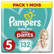 Pampers Couches culottes Baby Dry Pants T. 5 pack mensuel 12-17 kg 132 pcs