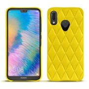 Coque cuir Huawei P20 Lite - Pulsion Couture Jaune fluo - Couture