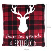 Coussin 40X40 cm COSY FRILEUX rouge/blanc