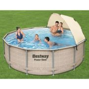 Ensemble de piscine avec auvent Power Steel 396x107 cm - Bestway