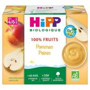 Hipp Bio 100% Fruits Coupelle Pommes Poires 4-6m Lot de 4 x 100g