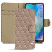 Housse cuir Huawei P20 Lite - Exception Couture Taupe vintage - Couture