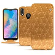 Housse cuir Huawei P20 Lite - Illumination Couture Or Maïa - Couture