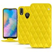 Housse cuir Huawei P20 Lite - Pulsion Couture Jaune fluo - Couture