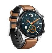 "Huawei Watch Gt Classic - 46.5 Mm - Acier Inoxydable - Montre Intelligente Avec Sangle - Cuir/Silicone - Brun Amande - Taille De Bande 140-210 Mm - Affichage 1.39"" - 128 Mo - Bluetooth - 46 G"