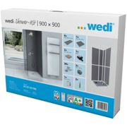 Kit douche d'angle plain-pied Fundo Shower Kit Primo 900x900x40mm - Wedi