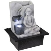 LED Table Printemps Fontaine Bouddha Design Eau Jeu Salon Décoration Gris Globo 93019