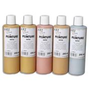 Lot de 5 flacons 250ml d'acrylique. Assortis métal : bronze, beige, or rosé, or, métal