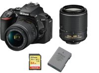 NIKON D5600 reflex 24.2 mpix KIT AF-P 18-55MM VR + Objectif AF-S 55-200MM ED VR II DX + 64GB SD card + EN-EL14A