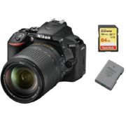 NIKON D5600 reflex 24.2 mpix + objectif KIT AF-S 18-140mm F3.5-5.6G ED VR DX + 64GB SD card + EN-EL14A Battery
