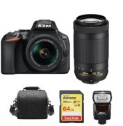 NIKON D5600 reflex 24.2 mpix TWIN KIT AF-P 18-55 F3.5-5.6G VR AF-P 70-300MM F4.5-6.3 ED VR DX + SD 64 Go + Sac + Speedlight