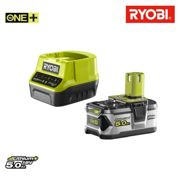 Pack batterie RYOBI 18V OnePlus 5.0Ah LithiumPlus - 1 chargeur rapide 2.0Ah RC18120-150