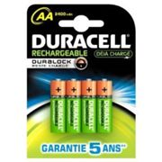 Pack de 4 piles rechargeables AA/LR6 Duracell Stay charged 2500mAh - Garantie 1 an