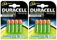 Pack de 8 piles rechargeables AA/LR6 Duracell Stay charged 2500mAh - Garantie 1 an