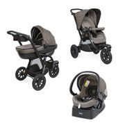Trio Poussette Chicco Activ3 Top Dark Beige + Kit Auto