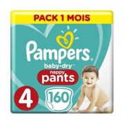 Pampers Couches culottes Baby Dry T. 4 pack mega plus 9-15 kg 160 pièces