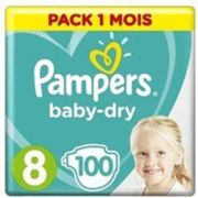 PAMPERS BABY-DRY Taille 8 - 100 couches - Pack 1 mois