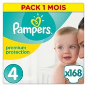 Pampers Premium Protection New Baby Taille 4 8-16 Kg - 168 Couches - Pack 1 Mois