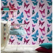 Papier peint butterfly rose/turquoise