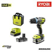 Ryobi R18PDBL-252S ONE Ensemble perceuse / tournevis à percussion avec batterie Li-ion 18 V (1 batterie 2.0Ah 5.0Ah) dans son sac - Carbone sans balai