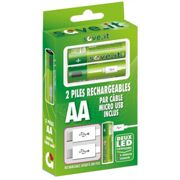 Piles rechargeables SAVE_IT en micro USB LR6 AA - 1000mAh (blister 2)