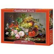 Puzzle 2000 Pièces : Still Life with Flowers and Fruit Basket, Castorland