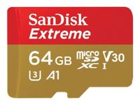 SanDisk Extreme - Carte mémoire flash (adaptateur microSDXC vers SD inclus(e)) - 64 Go - A1 / Video Class V30 / UHS-I U3 - microSDXC UHS-I